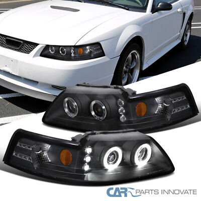 $102.55 • Buy For 99-04 Ford Mustang Black LED Halo Projector Headlights Head Lamps Left+Right