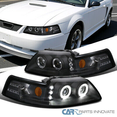 $107.95 • Buy For 99-04 Ford Mustang Black LED Halo Projector Headlights Head Lamps Left+Right