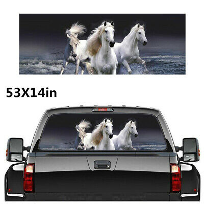 $19.70 • Buy White Horse Graphics Decal Sticker Waterproof Sun Shade For Car Rear Windshield