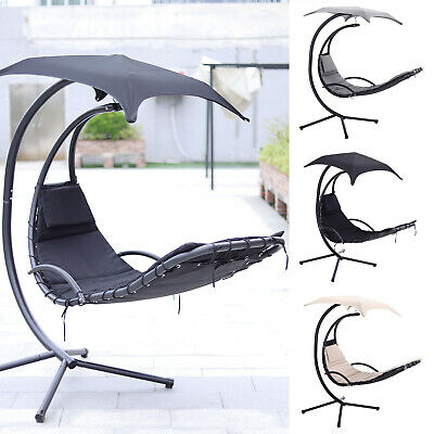 Outdoor Garden Sailing Hanging Swing Hammock Lounge Egg Chair Canopy Sun W/Stand • 235.14£