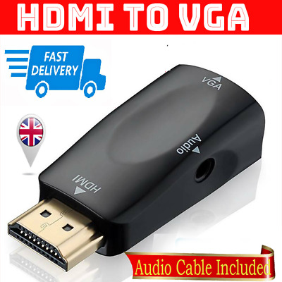 HDMI TO VGA Adapter Male To Female Converter Video Cable Full Plug Play Display • 3.16£