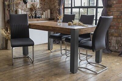 £599 • Buy Caro Solid Sheesham Wood Luxury Dining Table With 4 Black Cyra Chairs