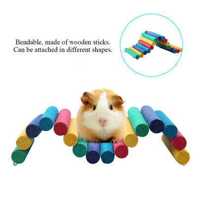 Colorful Wooden Bridge Pet Toy Hamster Guinea Pig Rat Ladder House Playing Toys • 6.86£