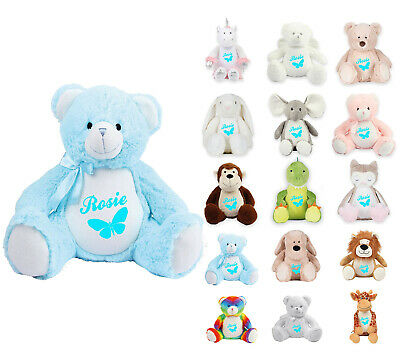 Personalised Soft Toy Teddy Bear Embroidered Baby Christening Birthday Gift 106 • 21.99£