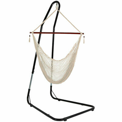 Sunnydaze Cabo Extra-Large Hanging Rope Hammock Chair W/ Adjustable Stand -Cream • 133.86£