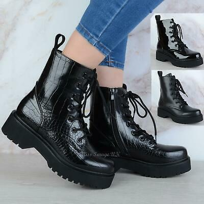 £22.99 • Buy Womens Ladies Chunky Platform Lace Up Zip Combat Army Goth Punk Ankle Boots Size