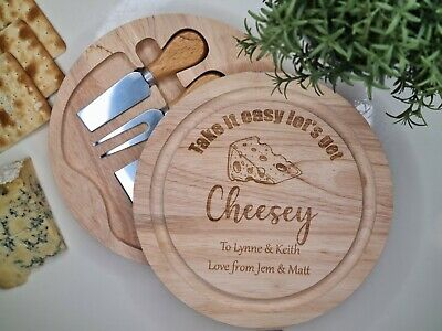 £22.99 • Buy Wooden Personalised Cheese Board Set With Knives