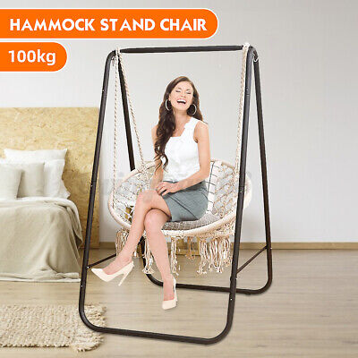 Hanging Hammock Indoor Outdoor Swing Cotton Rope Chair Patio Iron Black Stand G • 45.37£