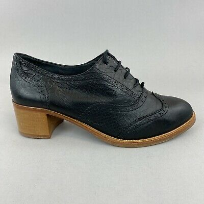Ted & Muffy Duo Black Leather Ankle Lace Up Brogues Heels Boots 42 UK8.5 - 9 • 42.10£