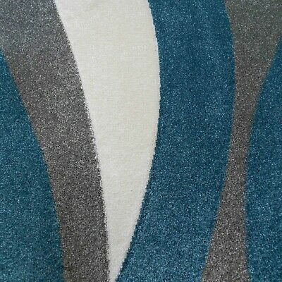 Blue Grey Modern Rugs Living Room Mat Teal Nautical Wave Hand Carved Texture Rug • 99.95£
