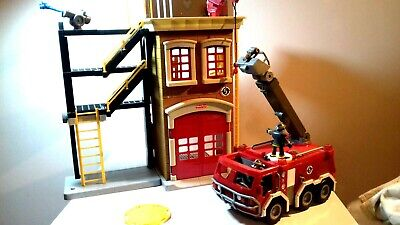 Fisher Price Imaginext Fire Station Engine And Figures Toy - Lights And Sound • 19.99£
