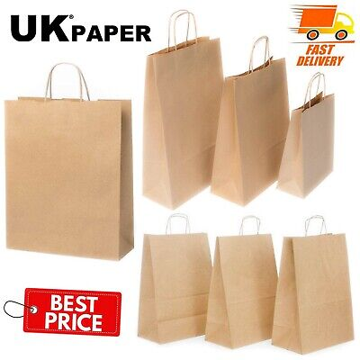 £1.89 • Buy Brown Paper Bags With Handles Small Large 100 50 10 For Gift Sweet Party Carrier