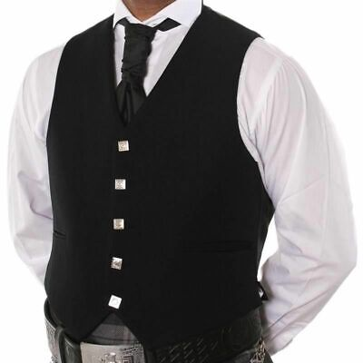 £12.89 • Buy Special Offer 100% Wool 5 Button Black Waistcoat Scottish Prince Charlie, Argyle
