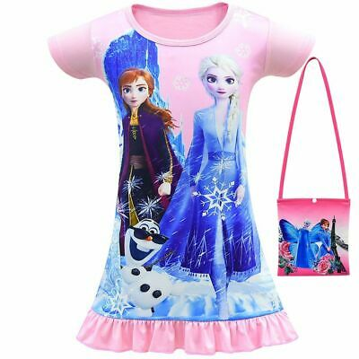Summer Girls Dress For Girls Party Kids Children Clothes Pajamas+bag 3-10y • 4.93£
