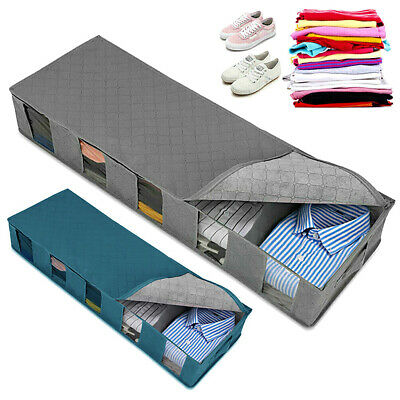 Large Capacity Under Bed Organizer Storage Bag Box 5 Compartments Clothes Holder • 6.99£