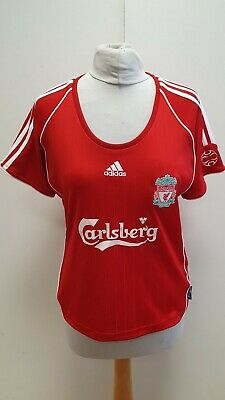 Mm388 Womens Adidas Liverpool Red S/sleeve Carlsberg Football T-shirt Uk 16 • 22.49£