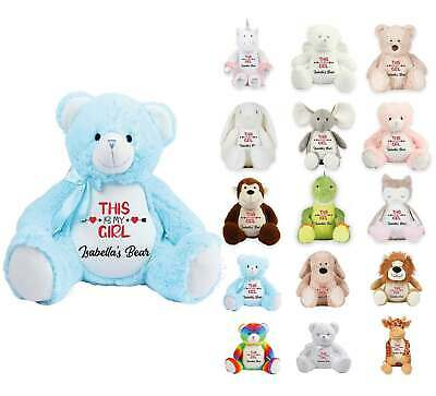 Personalised Soft Toy Teddy Bear Embroidered Baby Christening Birthday Gift 339 • 21.99£