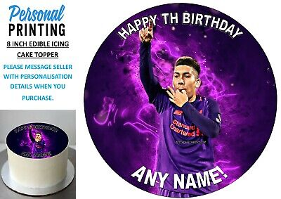 ROBERT FIRMINO LIVERPOOL 8 Inch Edible Icing Cake Topper Fan Football Purple • 6.49£