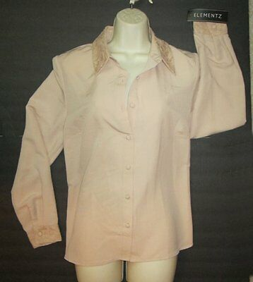 New Elementz Ladies Size Med Beige Lace Collar And Cuffs Long Sleeve Blouse NWT • 6.40£
