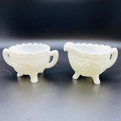 $12.99 • Buy Vintage Grape Pattern Milk Glass Open Footed Sugar Creamer Imperial Glass