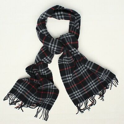 $99.99 • Buy Burberry London Wool Scarf Navy Blue Red Novacheck Lambswool Fringe England 72