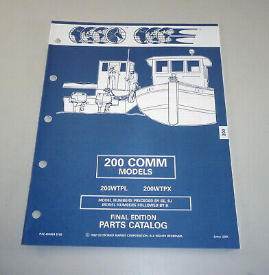 AU31.05 • Buy Parts Catalog Omc Evinrude Johnson Outboard Motor 200 Comm Models Stand 05/1992