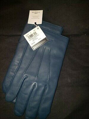 $55 • Buy NWT COACH 54182 MEN'S BASIC NAPPA LEATHER TECH TOUCH SCREEN GLOVES Denim M