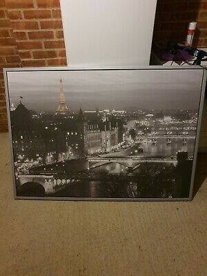 Ikea Extra Large Black & White Paris Wall Canvas Picture • 19.99£