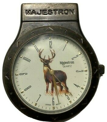$12.99 • Buy Majestron Gold Tone Hunter's Quartz Pocket Watch Stag Face For Repair Adjustment