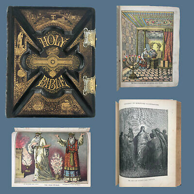£502.98 • Buy 1885 Illustrated Parallel Family Bible With Unmarked Family Pages And Closing Cl