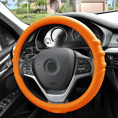 $16.99 • Buy Orange Silicone Steering Wheel Cover For Auto Car SUV Universal Fitment