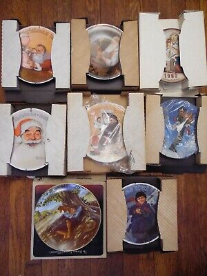 $ CDN77.61 • Buy 8 Eight Norman Rockwell Collectible Plates Christmas 1980-88 Edwin Knowles Co.