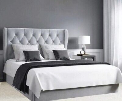Buttoned Wing Headboard Ottoman Storage Gas Lift Bed Double & King Size  • 449.99£