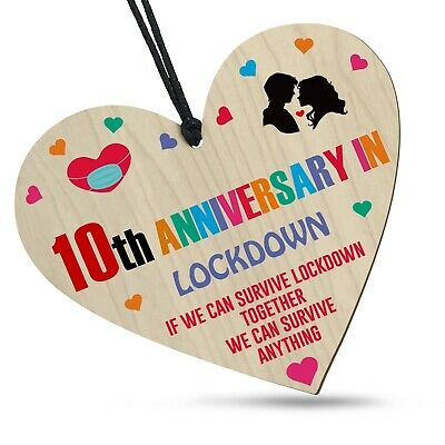10th Anniversary In Lockdown 2021 Wooden Heart For Him Her Family Plaque Gift • 3.99£