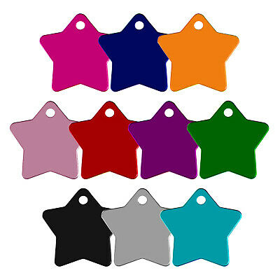 Star Shape Alloy Dog Id Name Tag Disc Personalised Engraved Pet Identity Tags • 2.79£
