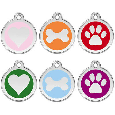 25mm COLOURED ENGRAVED DOG ID NAME TAG DISC PERSONALISED PET IDENTITY TAGS • 2.99£