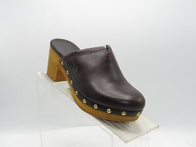 UGG Kay S/N 1010202 Size 7 M Brown Leather Heels Slides Clogs Shoes For Women • 42.93£