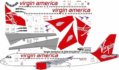 Virgin America Airbus A-320 Pointerdog7 Decals For Revell 1/144 Kit • 7.15£