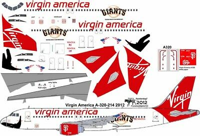 Virgin America SF Giants Airbus A-320 Pointerdog7 Decals For Revell 1/144 Kit • 7.15£