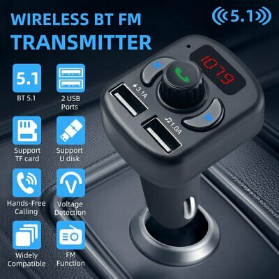 AU14.16 • Buy Car Kit Wireless Bluetooth FM Transmitter Dual USB Charger Hands-free MP3 Player