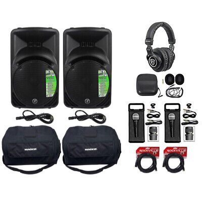 $1194.95 • Buy (2) New Mackie SRM450-V3 12  Powered Speakers+Travel Bags+Headphones+Mics+Cables