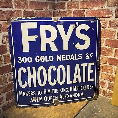 £695 • Buy Vintage Enamel Sign - Fry's Chocolate 300 Gold Medals Advertising - #5055
