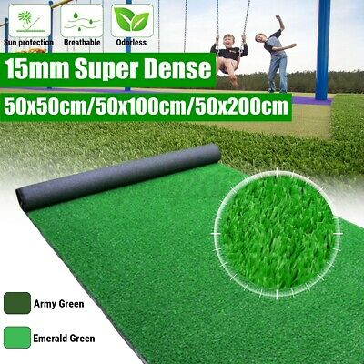 £9.99 • Buy 15mm Artificial Grass Garden Turf Offcut Roll End Realistic Turf Lawn Fake UK