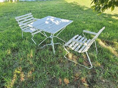AU249.95 • Buy Vintage White Painted Timber Slat & Steel Three Piece Outdoor Setting