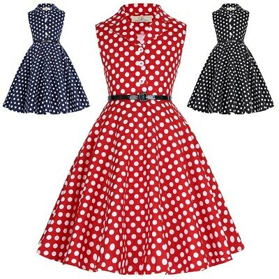 Girls Dress Kids Vintage Sleeveless Birthday Polka Dots Party Dress For Age 6-12 • 22.48£