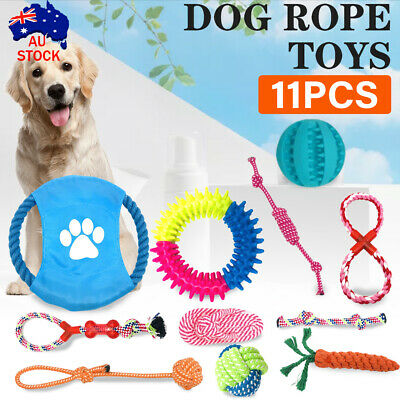 AU14.39 • Buy Dog Rope Toys Pet Puppy Chew Braided Tough Toy Gift Durable Cotton Clean Teeth