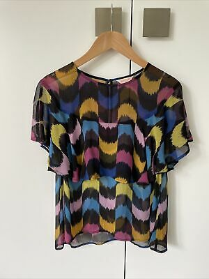 AU5.50 • Buy Gorman 100% Silk Top Blouse Shirt Black Mustard Yellow Pink Purple Blue Size 8