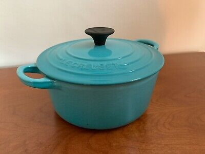 LE CREUSET Round  DEEP TEAL BLUE 18cm CASSEROLE Dish With Lid • 28£
