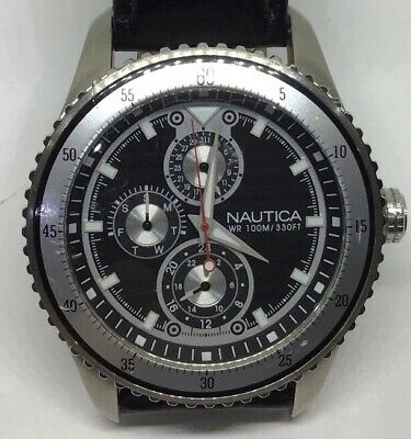 Nautica Quartz Watch With 24hr Dial And Day And Date Facilities Black Leather  • 50£