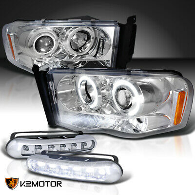 $147.38 • Buy Dodge 02-05 Ram Clear Halo Projector Headlights+LED DRL Fog Lights Bumper Lamps